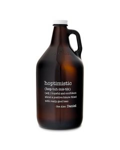 Personalized Glass Beer Growler - Hoptimistic Print