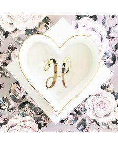 Script Heart Shaped Ring Dish