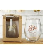 Personalized 9 ounce Stemless Wine Glass - Fall
