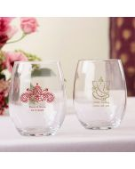 Personalized 9 ounce Stemless Wine Glass - Indian Jewel