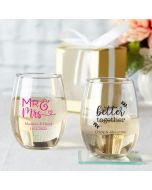 Personalized 9 ounce Party Stemless Wine Glass